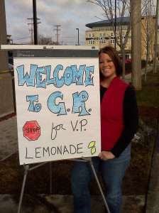Alyson Sack and the Sign